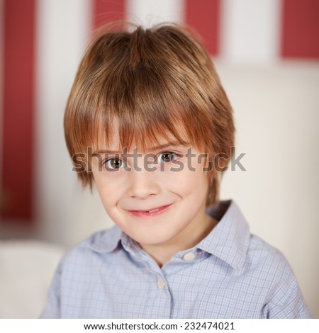 Close up Charming Blond Male Kid Wearing Casual Gray Shirt, Looking at the Camera with Smile. - stock photo