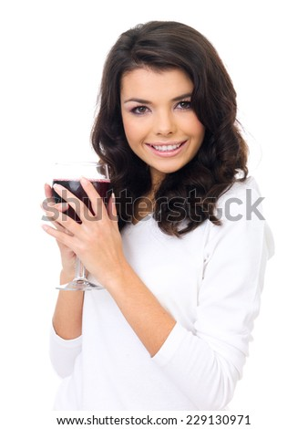 Close up Charming Young Woman Wearing White Shirt Holding a Glass of Wine While Looking at the Camera. Isolated on White Background. - stock photo