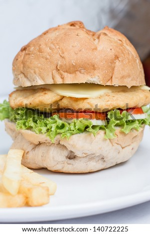 close up cheese burger and  french fries on white dish - stock photo