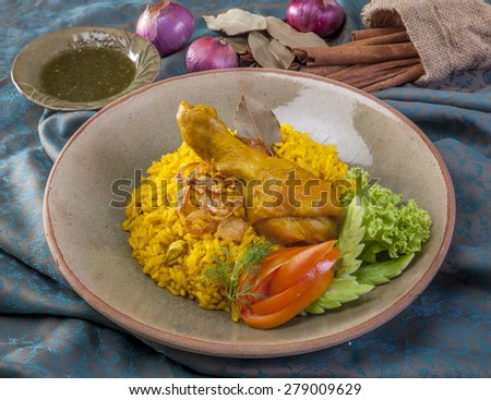 close up chicken biriyani