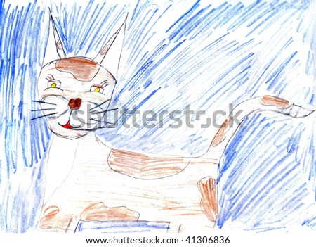 Close-up children's paint cat to background - stock photo