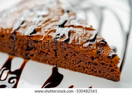 close up chocolate cake in with plate