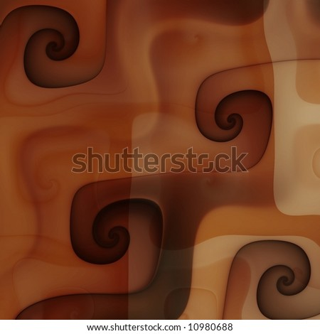 Close up chocolate caramel coffee cream swirls - stock photo