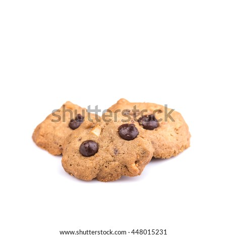 Close up chocolate chip cookie isolated on white background - stock photo