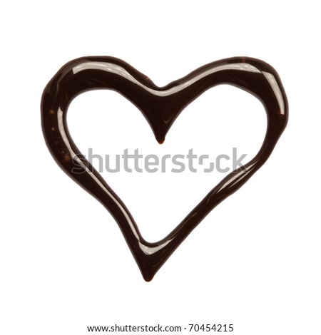 Close up chocolate syrup heart on white background - stock photo