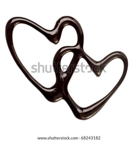 close up chocolate syrup heart shape on white background - stock photo