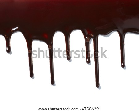 close up chocolate syrup leaking on white background - stock photo