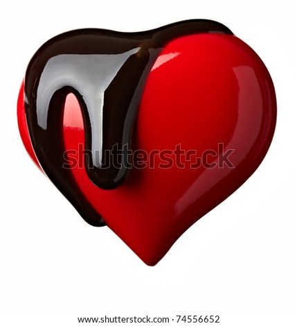 close up chocolate syrup leaking over heart shape symbol on white background with clipping path - stock photo
