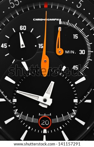 close-up chronograph watch - stock photo