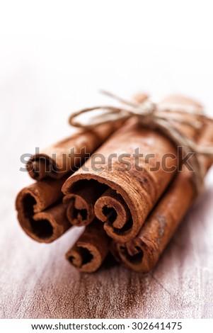 Close-up Cinnamon Sticks with copy space - stock photo