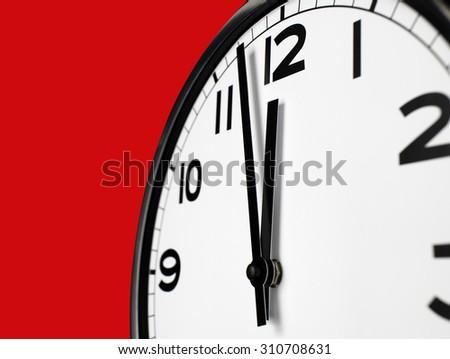 Close up clock face at 12 O'Clock - stock photo