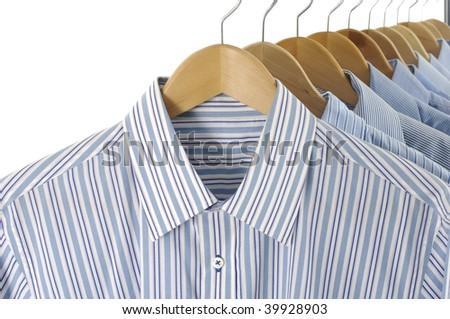 Close up clothes hanger with shirts - stock photo
