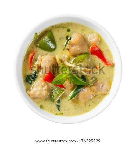 Close up clown knifefish ball green curry with sweet basil and chili - with path