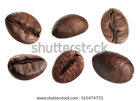 Close up coffee beans. Isolated on white background