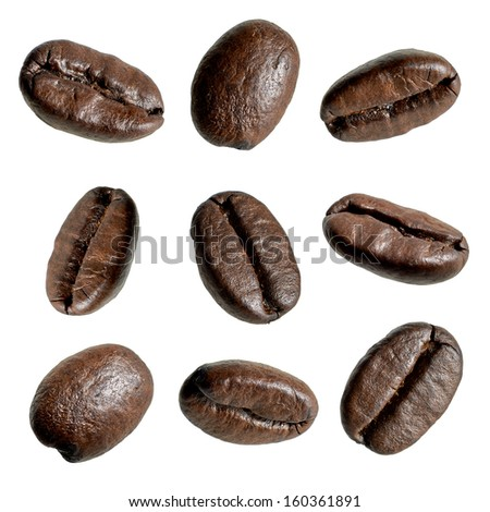 Close up coffee beans on white background