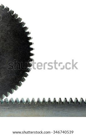 Close up cogwheel on the rack on a white background - stock photo