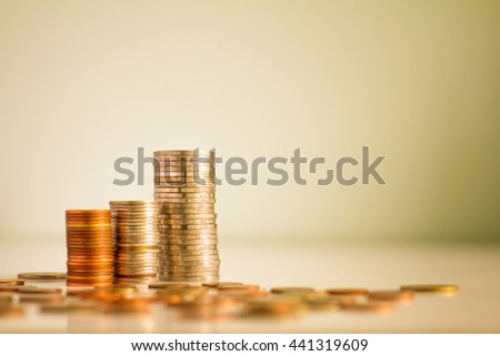 Close up coin stacked growing. For business growth and financial concept.,vintage color,selective focus.