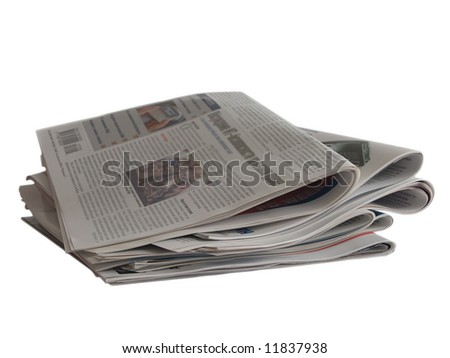 Close up colored newspapers lists isolated on white (newspaper series) - stock photo
