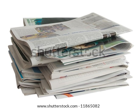 Close up colored newspapers lists isolated on white (newspaper series)
