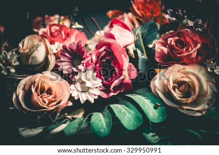 Close up colorful bunch of beautiful flowers.Vintage or retro tone. - stock photo