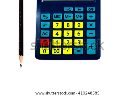 Close-up colorful calculator. white background.