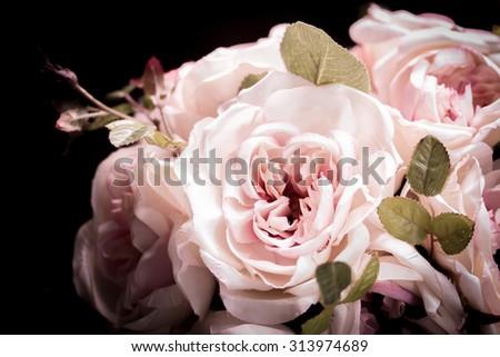 Close up colorful decoration artificial flower (vintage) - stock photo