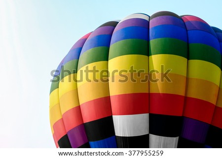 Close-up colorful hot air balloons in the sky - stock photo