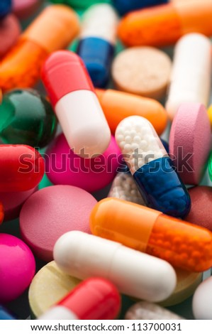 Close up colorful pills background - stock photo