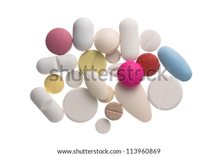 Close up colorful pills , isolated on white background - stock photo