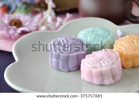 Close up colorful snow skin mooncake on plate - stock photo