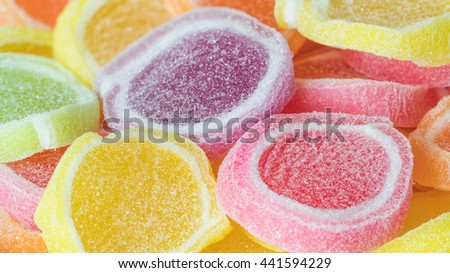 Close up colorful soft jelly candy - stock photo