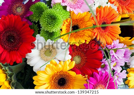 Close-up colorful spring bouquet with many different flowers - stock photo