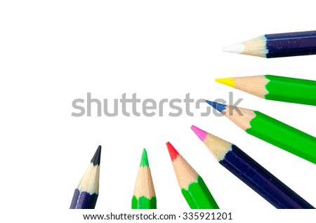 close up Colour pencils point to the center isolated on the white background - stock photo