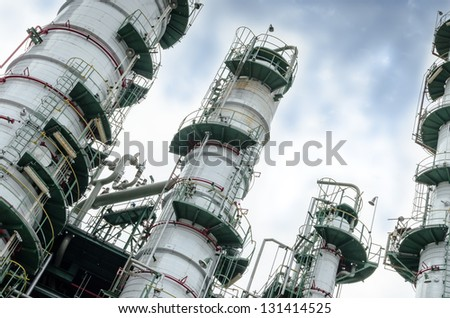 close up column towers in petrochemical plant - stock photo