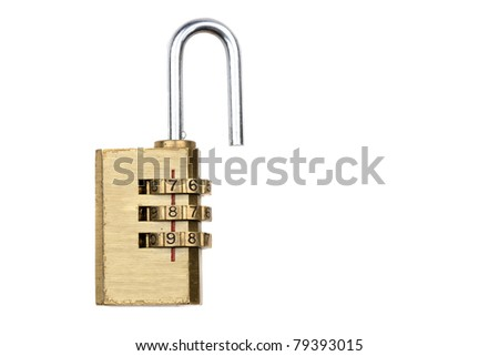 Close-up combination padlock 