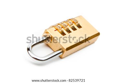 Close-up combination padlock isolated on white background - stock photo