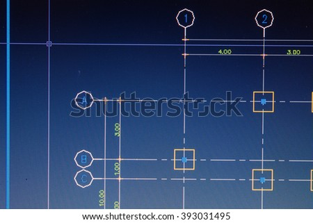 close up computer drawing program for footing construction background - stock photo