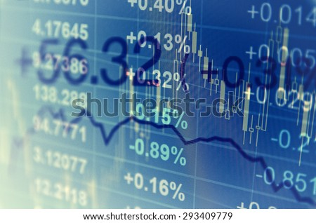 Close-up computer monitor with trading software. Multiple exposure photography. - stock photo