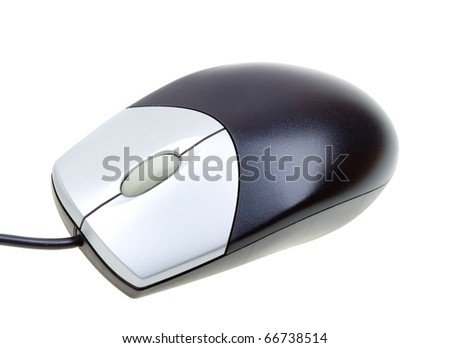 Close-up computer mouse isolated on white background - stock photo