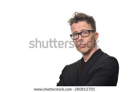 Close up Confident Businessman, Wearing Black Business Suit with Eyeglasses, Looking at the Camera Against White Background. - stock photo