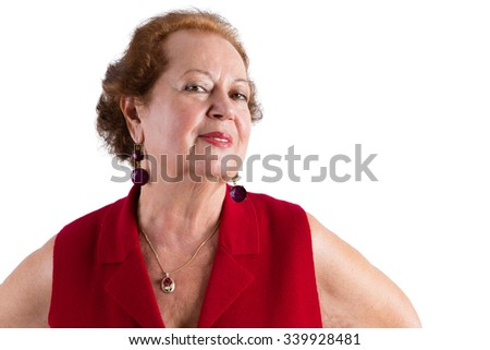 Close up Confident Senior Woman in Red, Smiles at the Camera, Isolated on White Background.