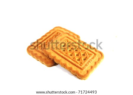 Close up cookies on white background - stock photo