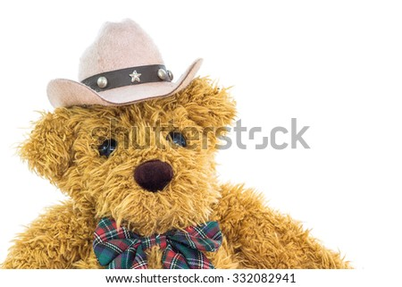 Close up cowboy teddy bear on white background - stock photo