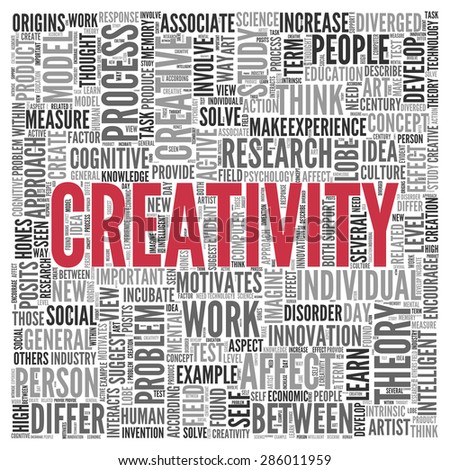 Close up CREATIVITY Text at the Center of Word Tag Cloud on White Background.
