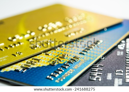 Close up credit card for shopping online - stock photo