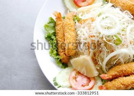 close up crispy shrimp and salad  - stock photo