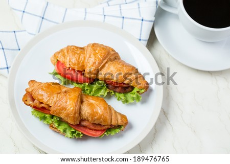 Close up Croissants breakfast food with white background