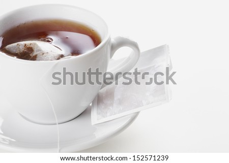 Close up cup of tea on the white background - stock photo