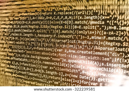 Close-up cyberspace digital display cyber script IT business computer screen modern  abstract screen network programming . Shallow DOF, selective focus effect. Code text written and created by myself - stock photo