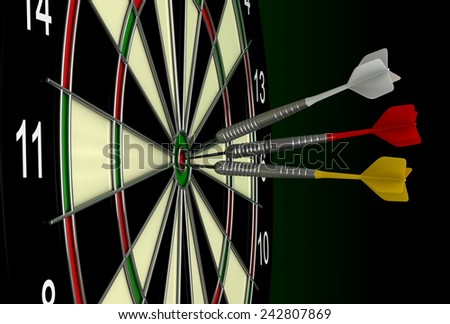 Close up 3d render of darts and board